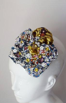 Liberty print silk, velvet and cotton flower hairclip / brooch with Swarovski