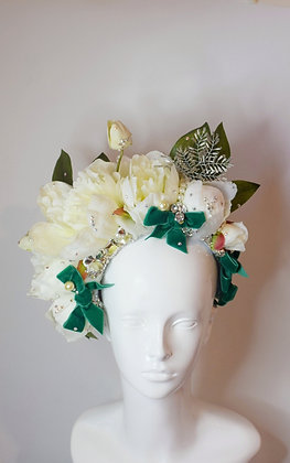 White peonies & emerald green velvet bows flower crown bridal festival headpiece