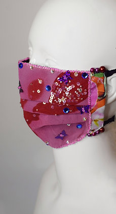 Pink and purple butterfly facemask beaded, Swarovski crystals