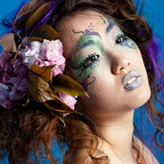 Makeup and hair for a shoot, photo by David Shih.