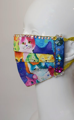 Rainbow cats and huge crystals glam facemask