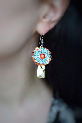 Mint daisy sunshine statement earrings with Swarovski crystals