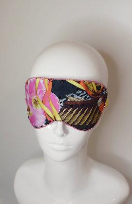 Orchid silk sleep eye mask with Swarovski crystals