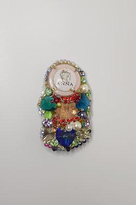 Anna champagne hairclip with crystal hearts & Swarovski crystals