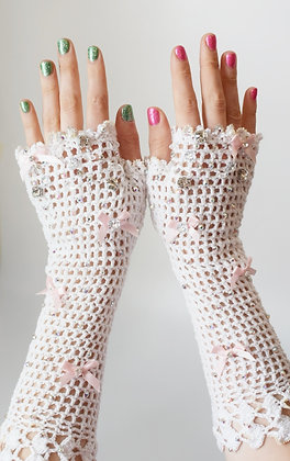 White crochet glam bridal fingerless gloves with bows and Swarovski crystals