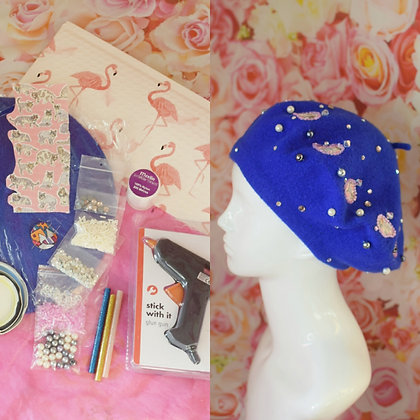 Blue cats in hats beret kit with Swarovski crystals, beads,  everything included