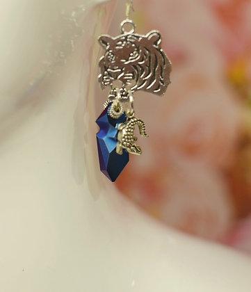 Tiger & lizard  and Jean Paul Gaultier Swarovski crystal drop earrings