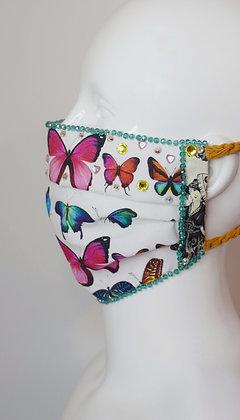 Bright butterflies print glam facemask