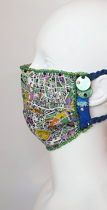 London Zoo to Hyde Park map print Liberty cotton facemask