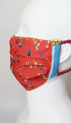 Red Liberty print floral glam facemask with Swarovski crystals