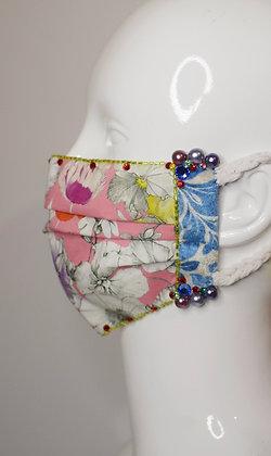 Pink floral Liberty print cotton facemask, velvet, pearls, Swarovski crystals
