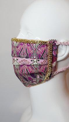 Art Nouveau Ianthe Liberty print & vintage chain glam facemask