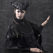 Headpiece and chest piece created from feathers, pearls, Czech glass beads and Swarovski.