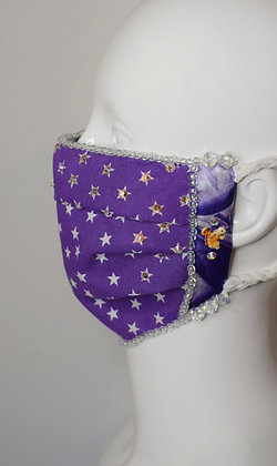 Purple stars squirrel facemask with Liberty print cotton and Swarovski crystals