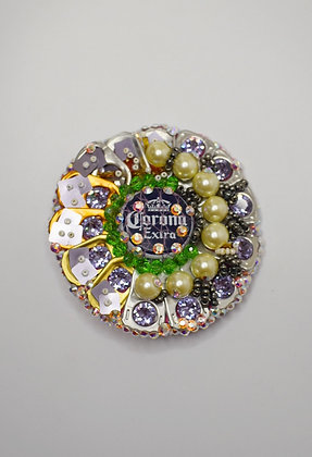 Corona talisman recycled hairclip/brooch with Swarovski crystals