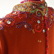 Side view - recycled braiding hand stitched with crystal beads, chandelier crystals and Czech glass beads.