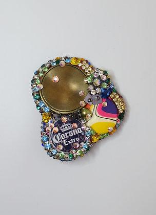 Corona talisman buttons hairclip / brooch with Swarovski crystals