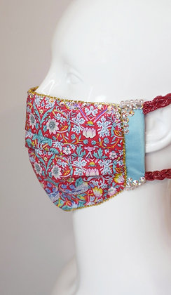 Strawberry thief Liberty print cotton glam facemask