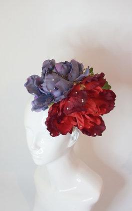 Ree & blue peonies glam fascinator headpiece