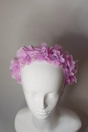 Pink flowers headband with Swarovski crystals