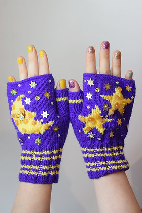 Moon, stars and raw amber purple fingerless gloves