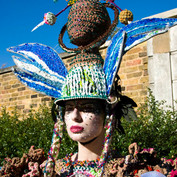 A headpiece created from tights and plastic bags. Photo by Alla Sanders.