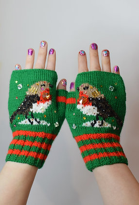 Robins with crystal hearts embellished handknitted fingerless gloves