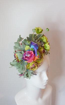 Rainbow green roses leafy glam headpiece fascinator