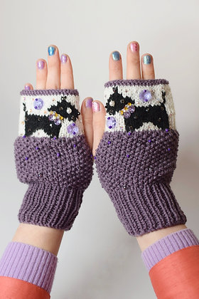 Black dogs purple hand-knitted fingerless gloves with Swarovski crystals