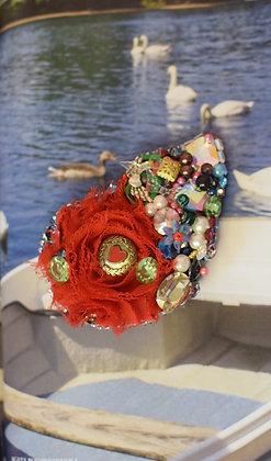 Rose, heart button & charms Swarovski crystals hairclip