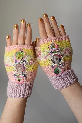 Dot Liberty print applique Swarovski crystal fingerless gloves