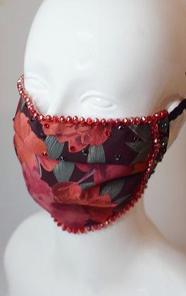 Red vintage floral facemask - crystal beads,  buttons, Swarovski