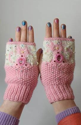 Baby pink hand-knitted cats gloves with Liberty print and Swarovski crystals
