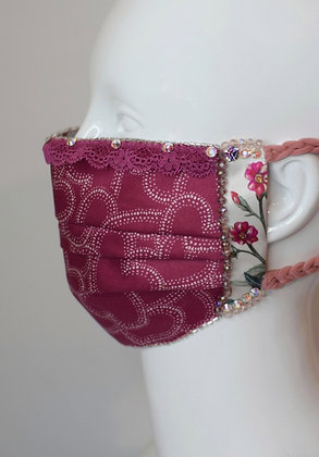 Satin hearts and Liberty print silk glam facemask with lace