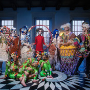 The cast in magical recycled costumes created by Anna