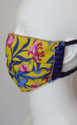 Yellow floral cotton and silk Liberty print glam facemask