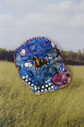 Blue silk chiffon tiger eye Swarovski crystals hairclip