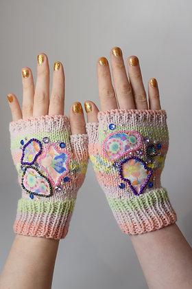 Pastel fingerless gloves - Liberty print applique, Swarovski