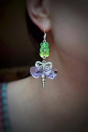 Brighton seaside statement earrings with seashell, hearts & gummy bears