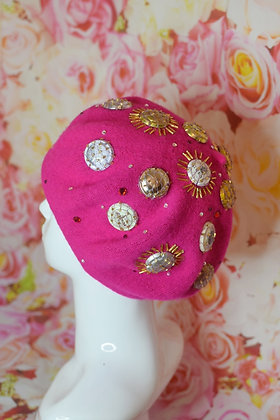 Hot Pink gold Champagne beret with Swarovski crystals