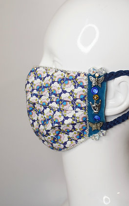Liberty print cotton facemask with charms,  velvet, Swarovski crystals