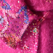 Coat embroidered with an old Vivienne Westwood scarf