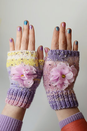 Pink flowers pastel hand-knitted fingerless gloves with Swarovski crystals