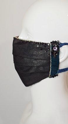 Black glitter, velvet, Swarovski and ring pulls facemask
