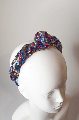 Metallic lame lace turban knot headband with Swarovski crystals