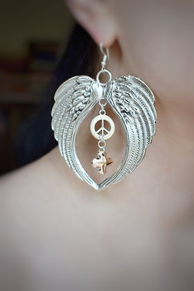 Angel of peace statement earrings with Swarovski crystals