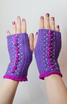 Purple & pink hand-knitted fingerless gloves beads, Swarovski crystals