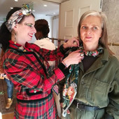 Showing fabulous blogger Alyson @thatsnotmyage how to style a silk scarf.