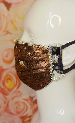 Bronze brocade & silk glam facemask with pearls & Swarovski crystals