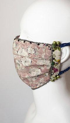 Dusky pink Liberty print floral silk and jade facemask